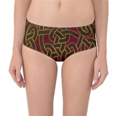 Beautiful Art Pattern Mid Waist Bikini Bottoms
