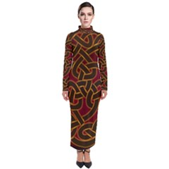 Beautiful Art Pattern Turtleneck Maxi Dress