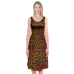 Beautiful Art Pattern Midi Sleeveless Dress
