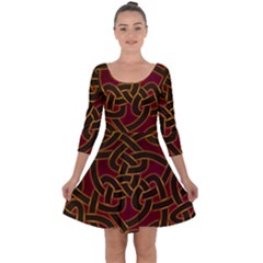 Beautiful Art Pattern Quarter Sleeve Skater Dress