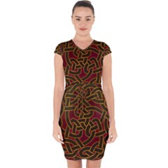 Beautiful Art Pattern Capsleeve Drawstring Dress