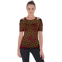 Beautiful Art Pattern Shoulder Cut Out Short Sleeve Top