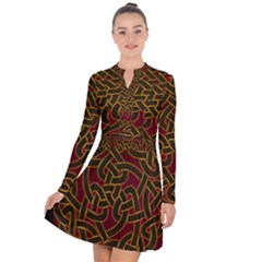 Beautiful Art Pattern Long Sleeve Panel Dress