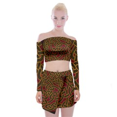 Beautiful Art Pattern Off Shoulder Top With Mini Skirt Set