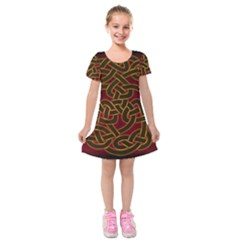 Beautiful Art Pattern Kids  Short Sleeve Velvet Dress