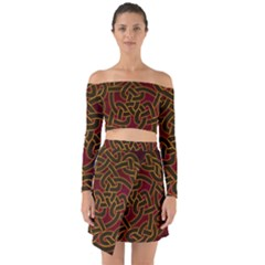 Beautiful Art Pattern Off Shoulder Top With Skirt Set