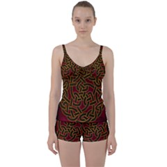 Beautiful Art Pattern Tie Front Two Piece Tankini