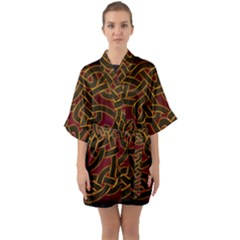 Beautiful Art Pattern Quarter Sleeve Kimono Robe