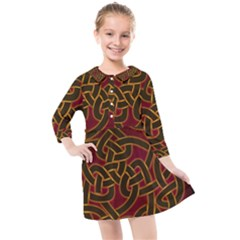 Beautiful Art Pattern Kids  Quarter Sleeve Shirt Dress