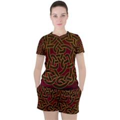Beautiful Art Pattern Women s Tee And Shorts Set