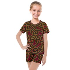 Beautiful Art Pattern Kids  Mesh Tee And Shorts Set