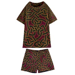 Beautiful Art Pattern Kids  Swim Tee And Shorts Set