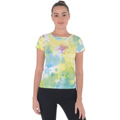 Abstract Pattern Color Art Texture Short Sleeve Sports Top