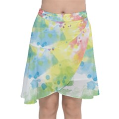 Abstract Pattern Color Art Texture Chiffon Wrap Front Skirt