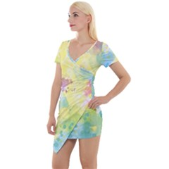 Abstract Pattern Color Art Texture Short Sleeve Asymmetric Mini Dress