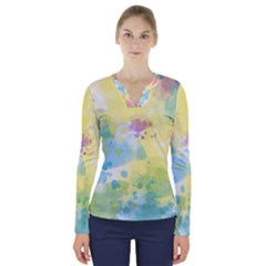 Abstract Pattern Color Art Texture V Neck Long Sleeve Top