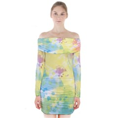 Abstract Pattern Color Art Texture Long Sleeve Off Shoulder Dress