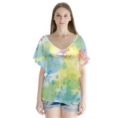 Abstract Pattern Color Art Texture V Neck Flutter Sleeve Top