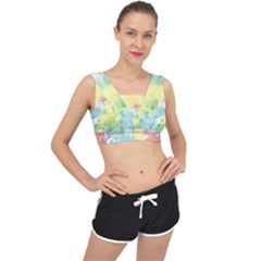Abstract Pattern Color Art Texture V Back Sports Bra