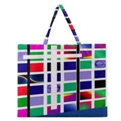 Color Graffiti Pattern Geometric Zipper Large Tote Bag