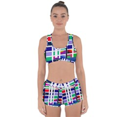 Color Graffiti Pattern Geometric Racerback Boyleg Bikini Set