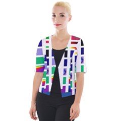 Color Graffiti Pattern Geometric Cropped Button Cardigan by Nexatart