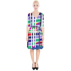 Color Graffiti Pattern Geometric Wrap Up Cocktail Dress