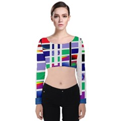Color Graffiti Pattern Geometric Velvet Long Sleeve Crop Top by Nexatart