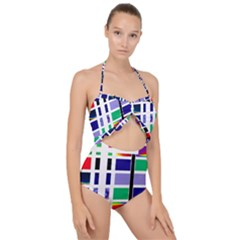 Color Graffiti Pattern Geometric Scallop Top Cut Out Swimsuit by Nexatart