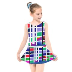 Color Graffiti Pattern Geometric Kids  Skater Dress Swimsuit