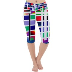 Color Graffiti Pattern Geometric Lightweight Velour Cropped Yoga Leggings