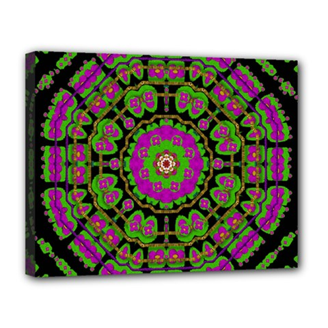 Flowers And More Floral Dancing A Happy Dance Canvas 14  X 11  (stretched) by pepitasart