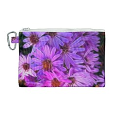 Pink Garden Flowers Canvas Cosmetic Bag (large) by bloomingvinedesign