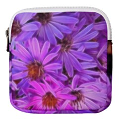 Pink Garden Flowers Mini Square Pouch by bloomingvinedesign