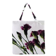 Purple Carnations From A Distance Grocery Tote Bag by bloomingvinedesign