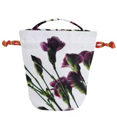 Purple Carnations From A Distance Drawstring Bucket Bag