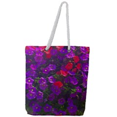 Purple Petunias Full Print Rope Handle Tote (large) by bloomingvinedesign