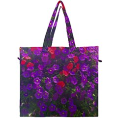 Purple Petunias Canvas Travel Bag by bloomingvinedesign