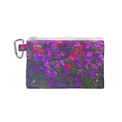 Purple Petunias Canvas Cosmetic Bag (small) by bloomingvinedesign