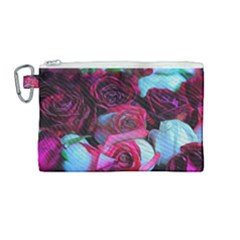 Red And White Roses Canvas Cosmetic Bag (medium)