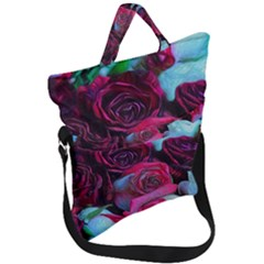 Red And White Roses Fold Over Handle Tote Bag by bloomingvinedesign