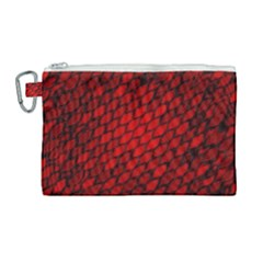 Red Dragon Scales Canvas Cosmetic Bag (large) by bloomingvinedesign