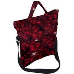 Red Spider Pattern Fold Over Handle Tote Bag
