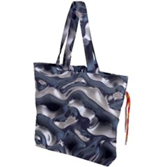 Silver Liquid Metallic Texture Drawstring Tote Bag by bloomingvinedesign
