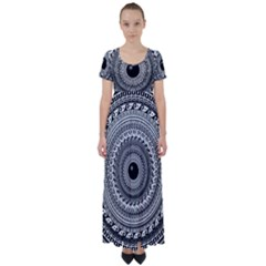 Graphic Design Round Geometric High Waist Short Sleeve Maxi Dress