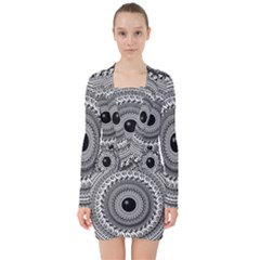 Graphic Design Round Geometric V Neck Bodycon Long Sleeve Dress by Nexatart