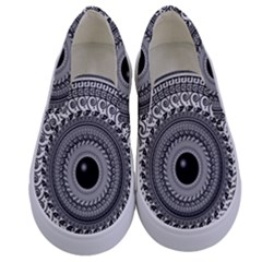 Graphic Design Round Geometric Kids  Canvas Slip Ons