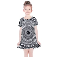 Graphic Design Round Geometric Kids  Simple Cotton Dress