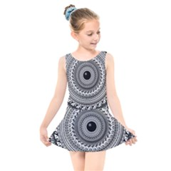Graphic Design Round Geometric Kids  Skater Dress Swimsuit