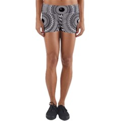 Graphic Design Round Geometric Lightweight Velour Yoga Shorts
